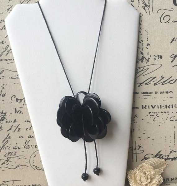 Black Rose Tagua Necklace