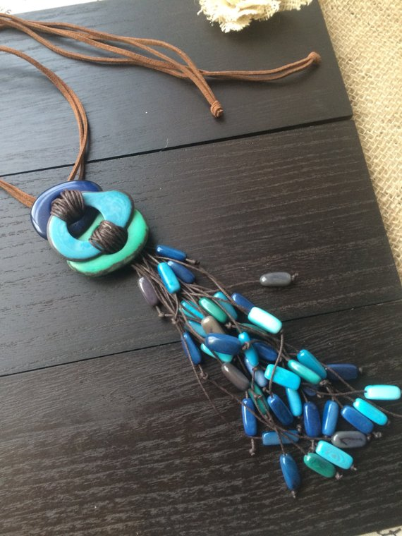 Blue fringe tagua necklace