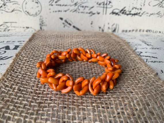 Burnt Orange Tagua bracelet