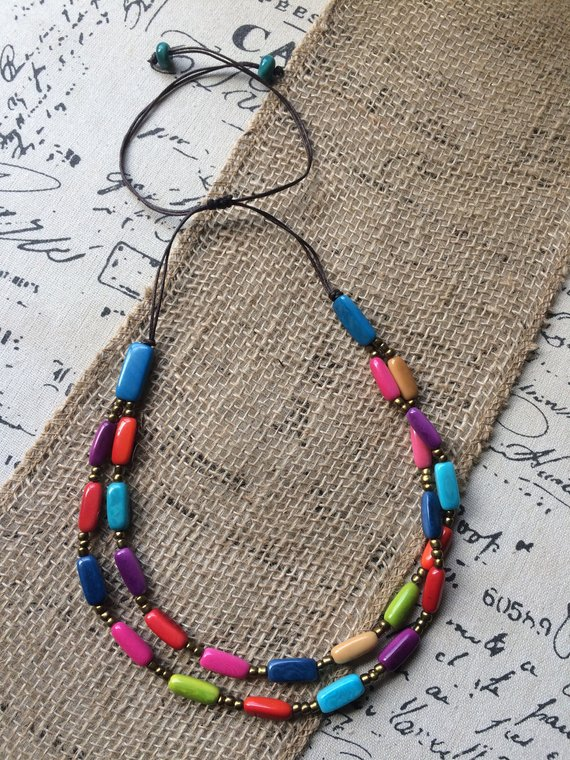 Rainbow Layered Tagua Necklace