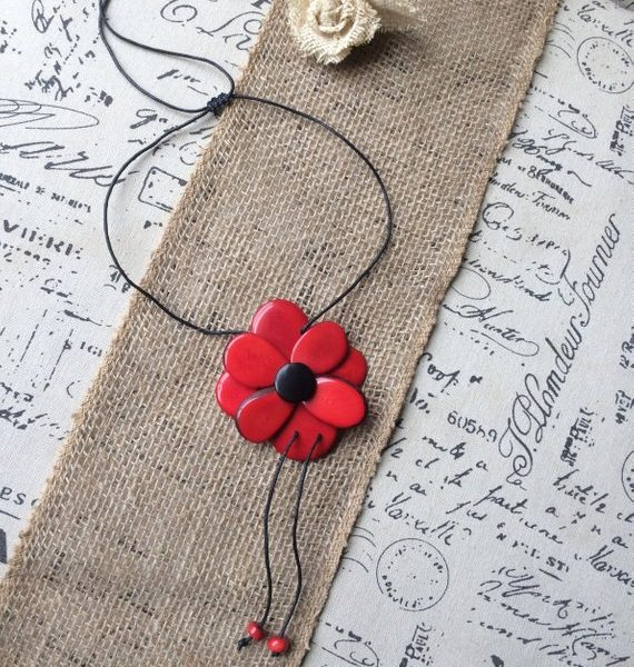 Red flower tagua pendant necklace