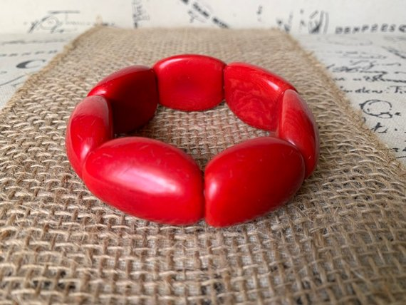 Red oversized Tagua nut bracelet