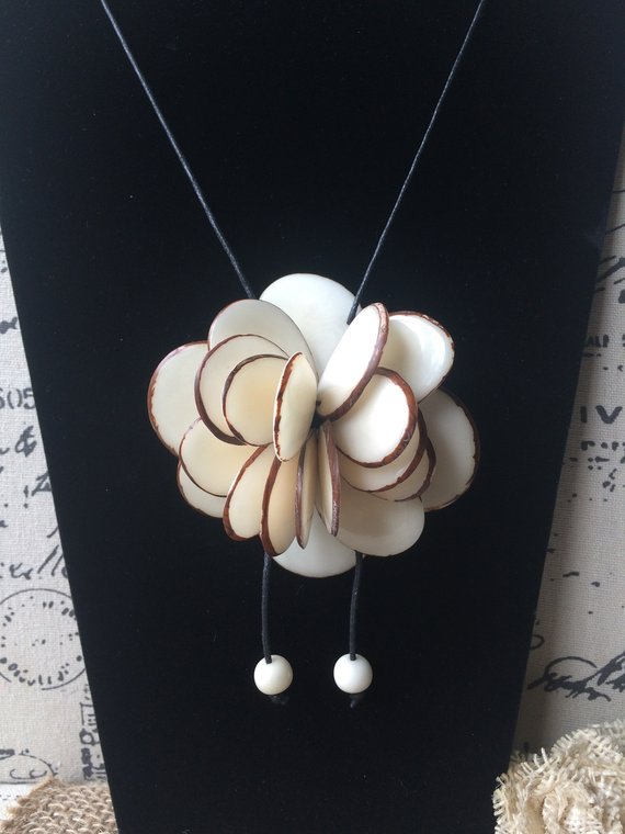 White Rose Pendant Necklace