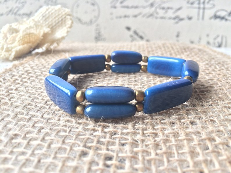 Blue beaded Tagua bracelet