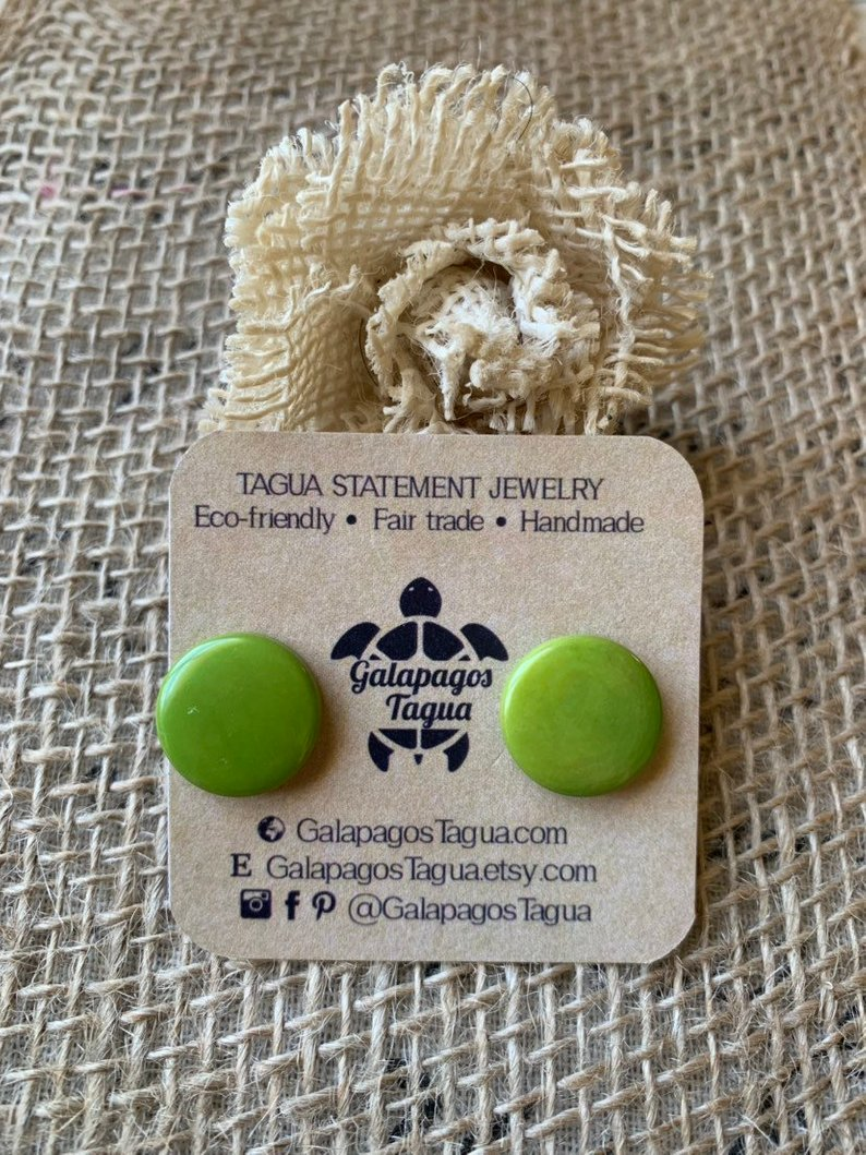 green stud tagua earrings