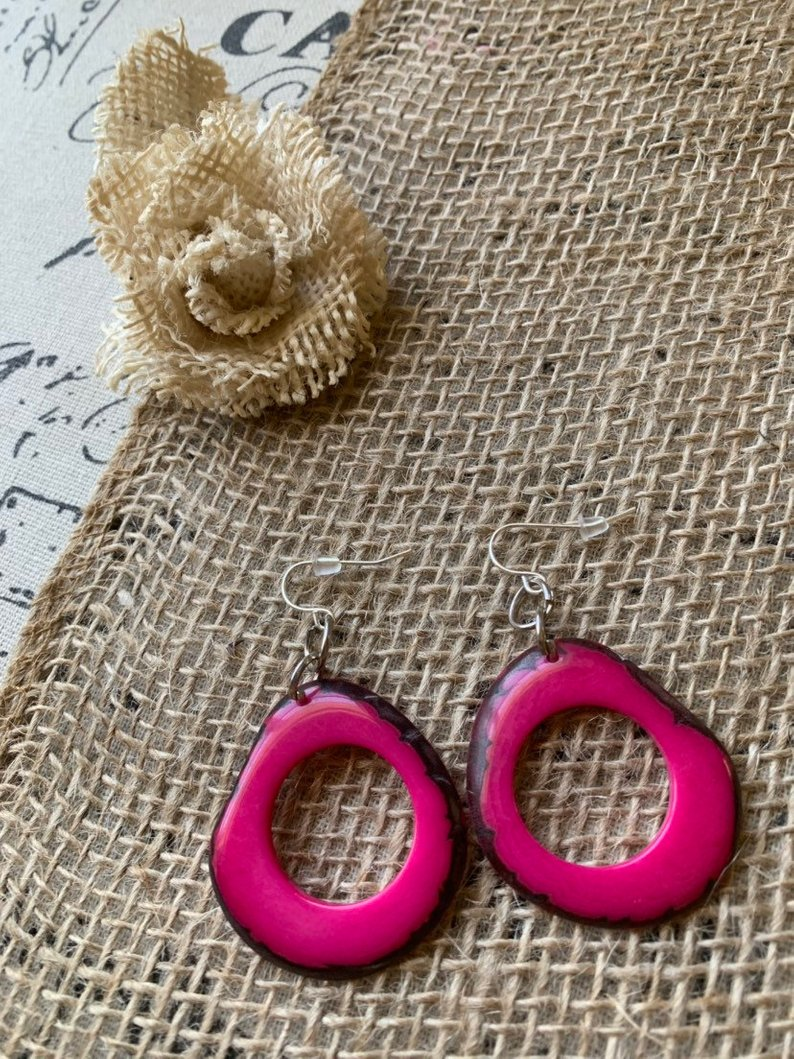 Hot Pink tagua earrings