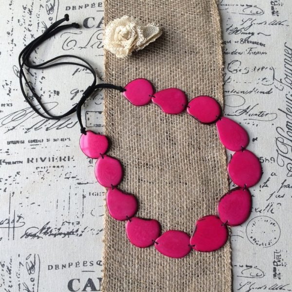 Hot pink beaded tagua necklace
