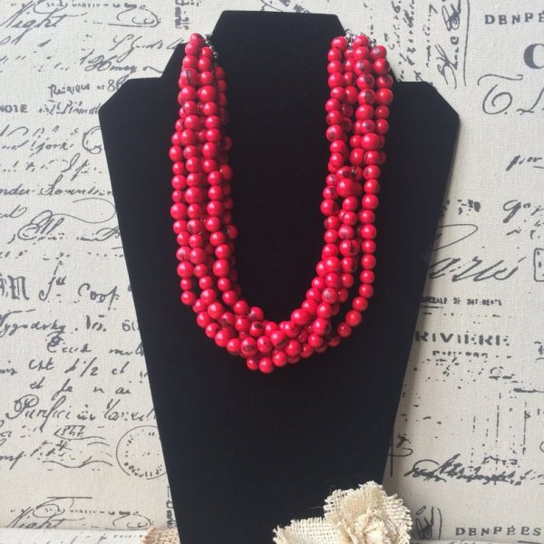 Red acai statement necklace
