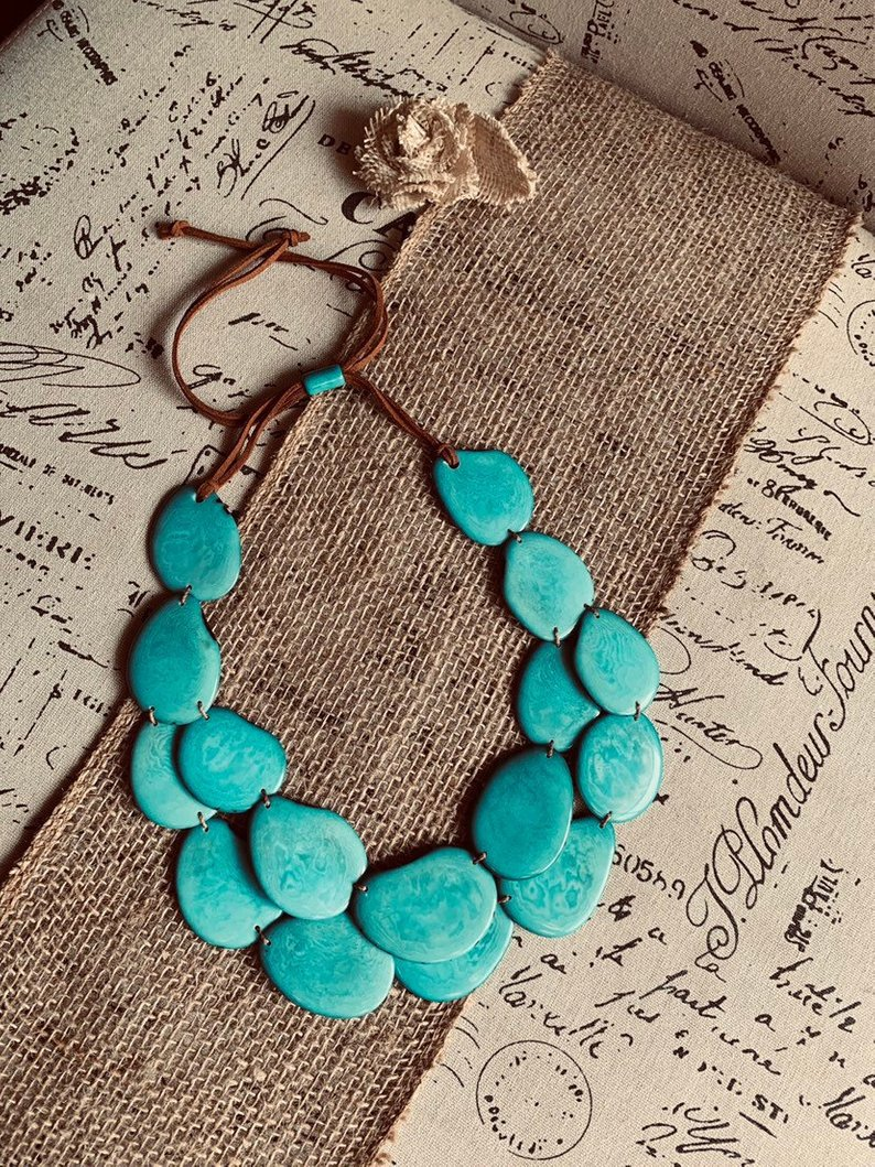 Turquoise green tagua necklace