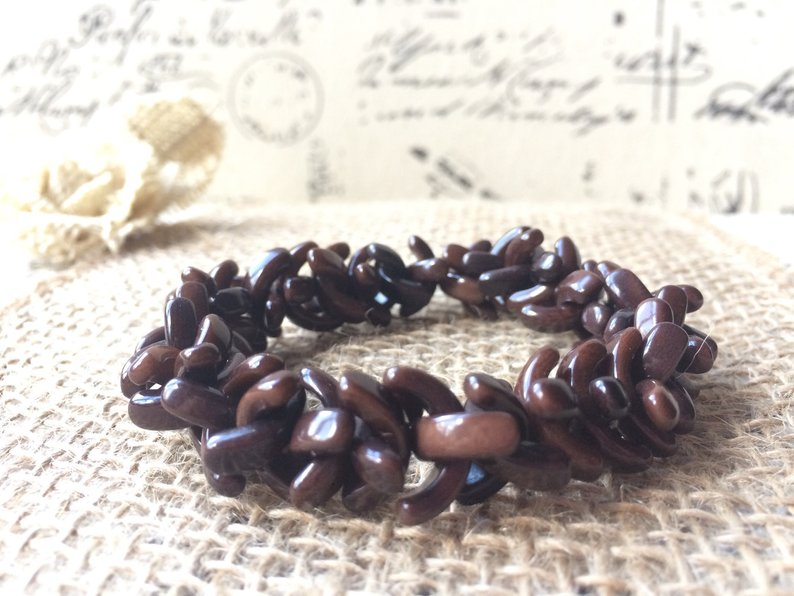 Brown beaded tagua bracelet
