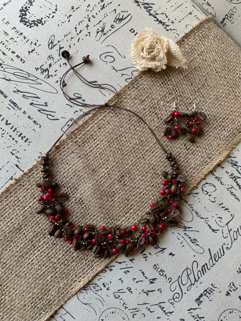 Coffee bean necklace set