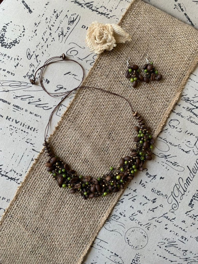 Green acai and coffee beans necklace