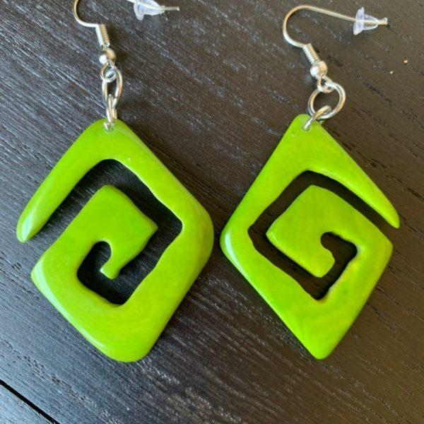 Tagua Nut Jewelry Nut Earrings Eco Jewelry Naturalist...../'Unfiltered Thoughts/' Dark Green Earrings Emerald Green Green Earrings