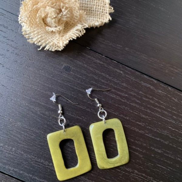 Olive Green tagua earrings