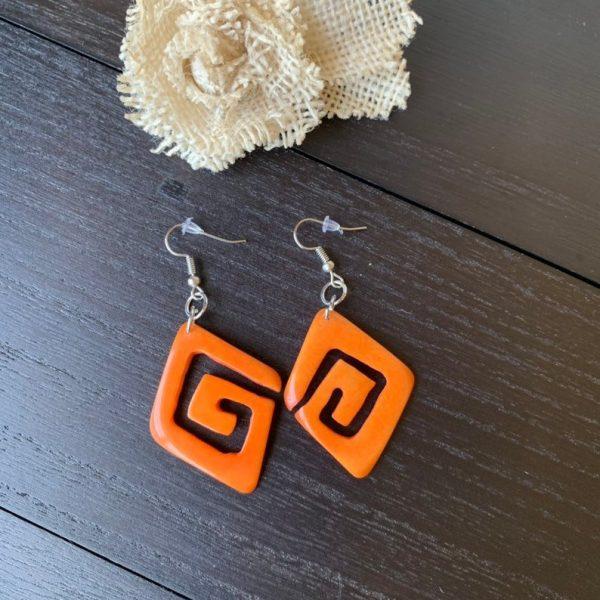 Orange unusual tagua earrings