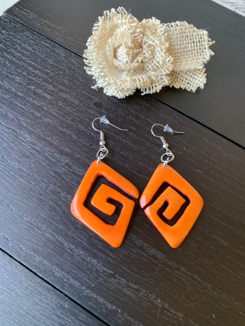 Orange unusual tagua earrings