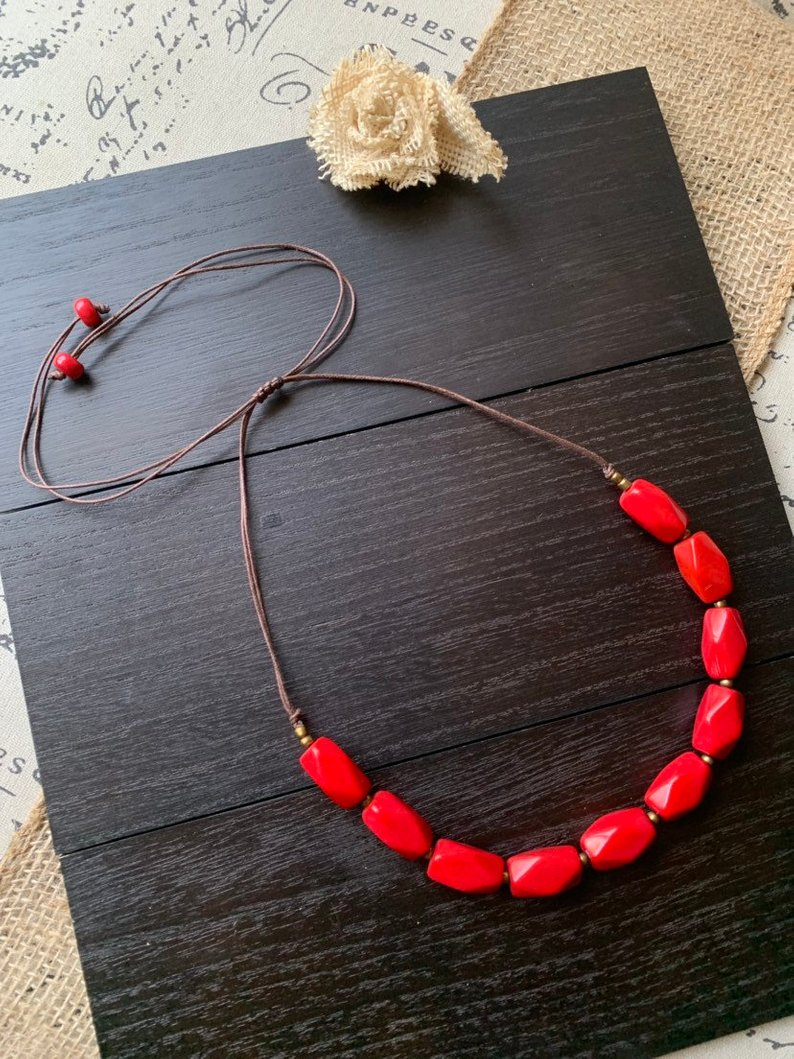 Red chunky tagua necklace