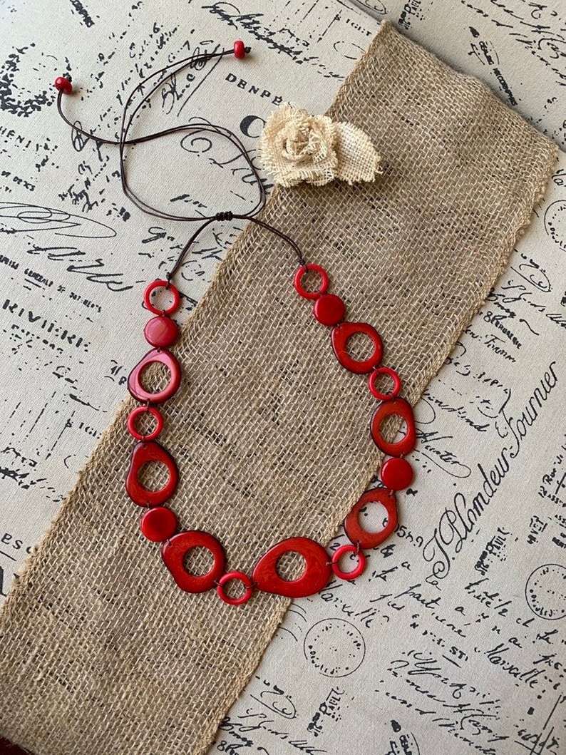 Red geometric tagua necklace