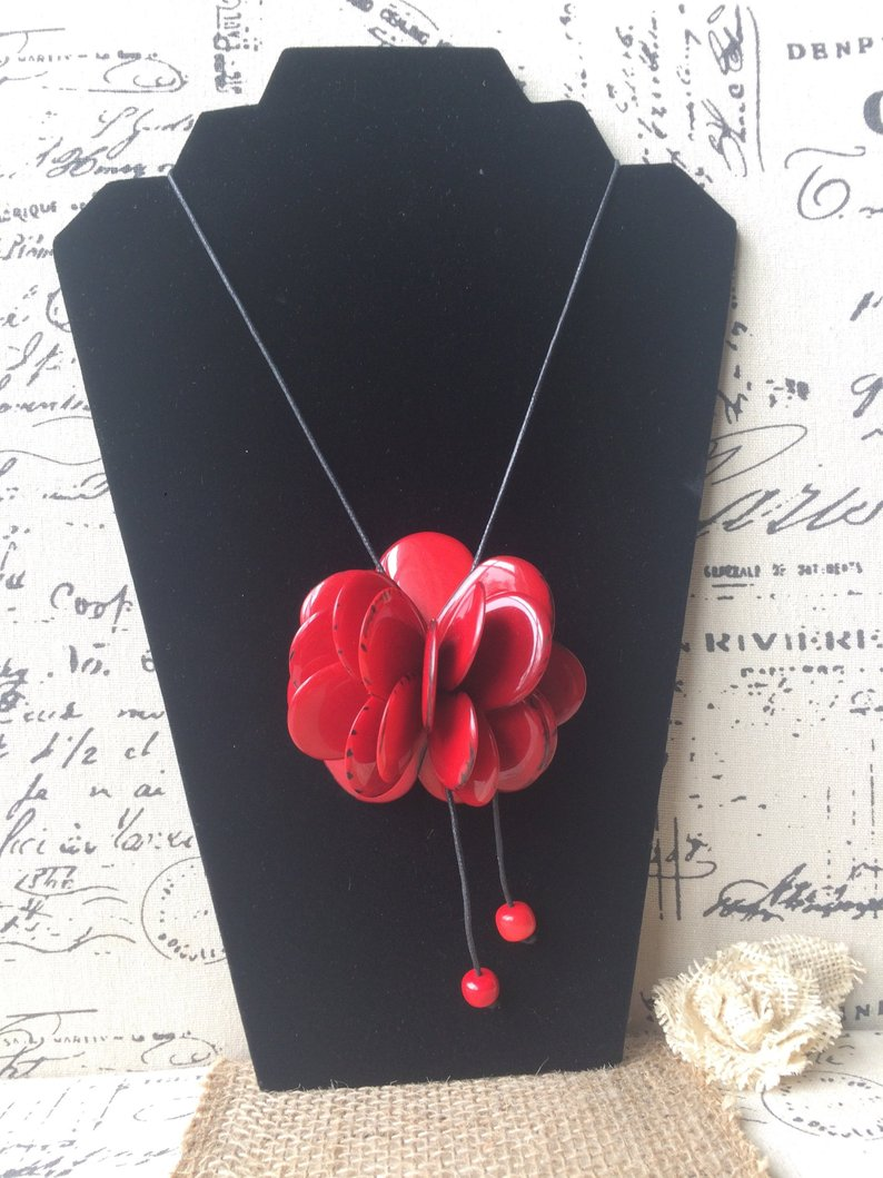 Red rose tagua pendant necklace