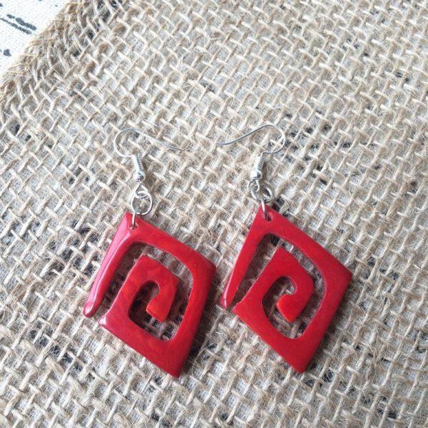 Red unusual tagua earrings