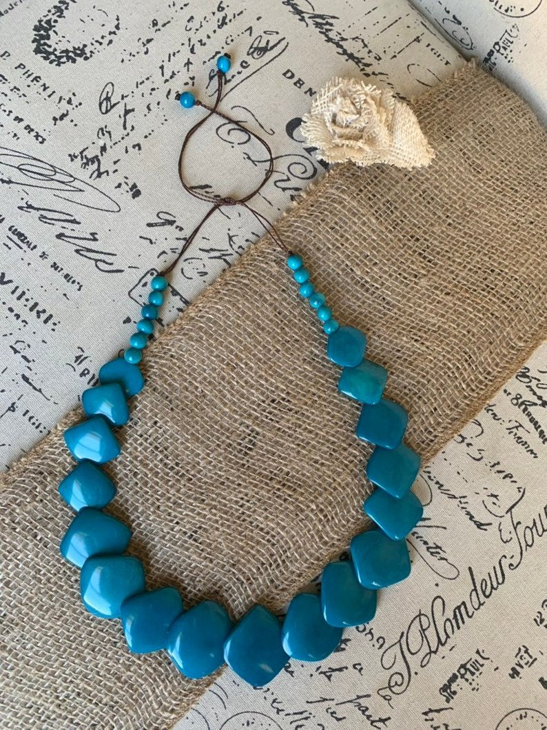 Turquoise beaded tagua necklace
