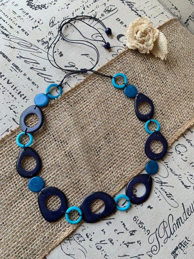 Turquoise blue tagua necklace