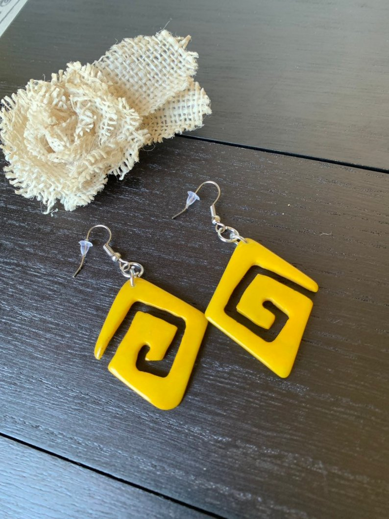 Yellow beaded tagua earrings