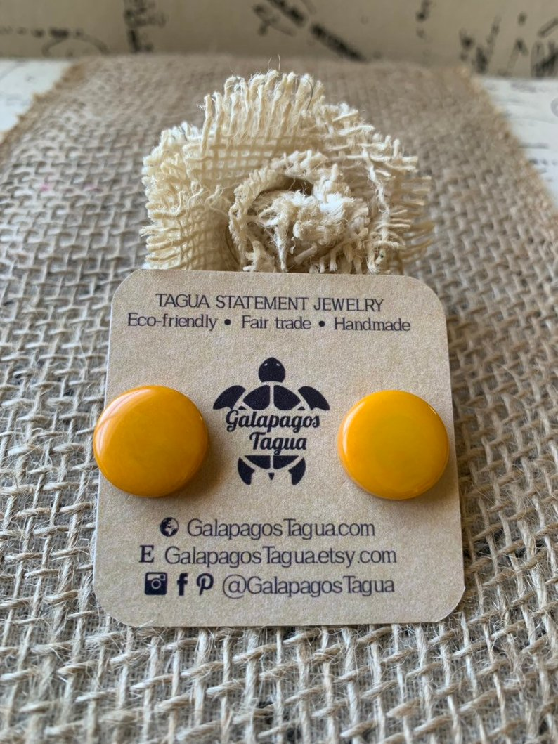 Yellow stud tagua earrings
