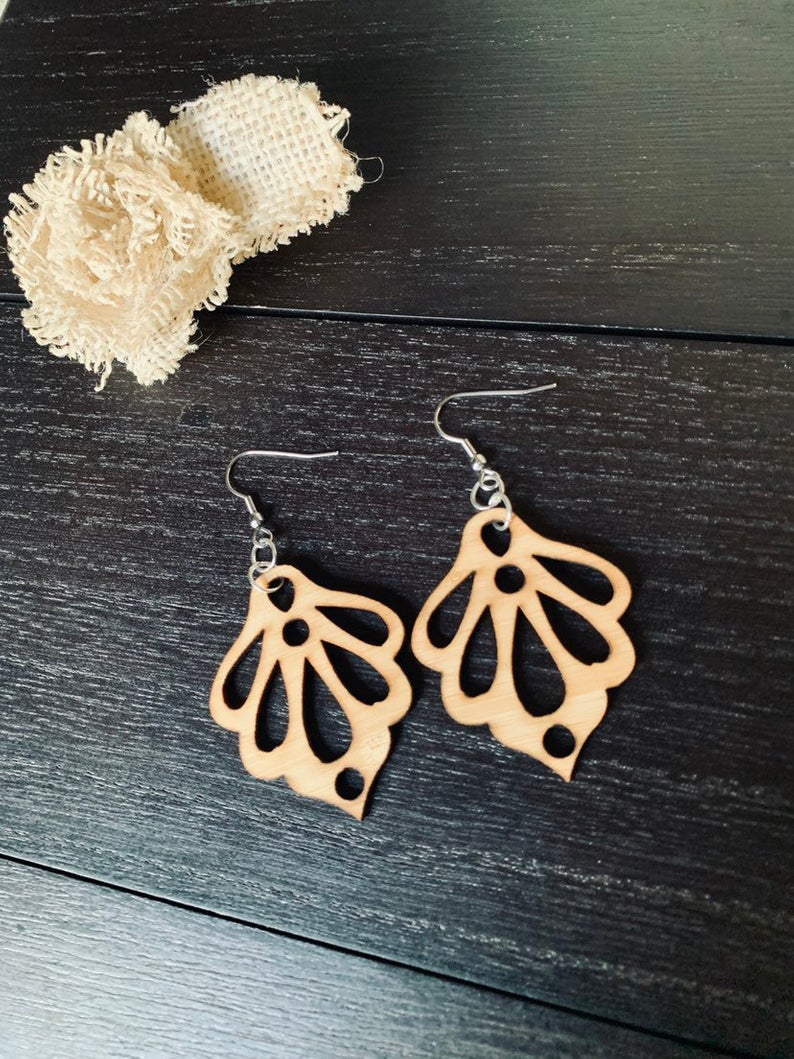 Natural Bamboo Wooden Earrings