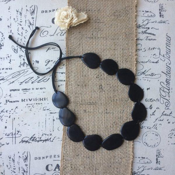 Black Single Layer Tagua Necklace