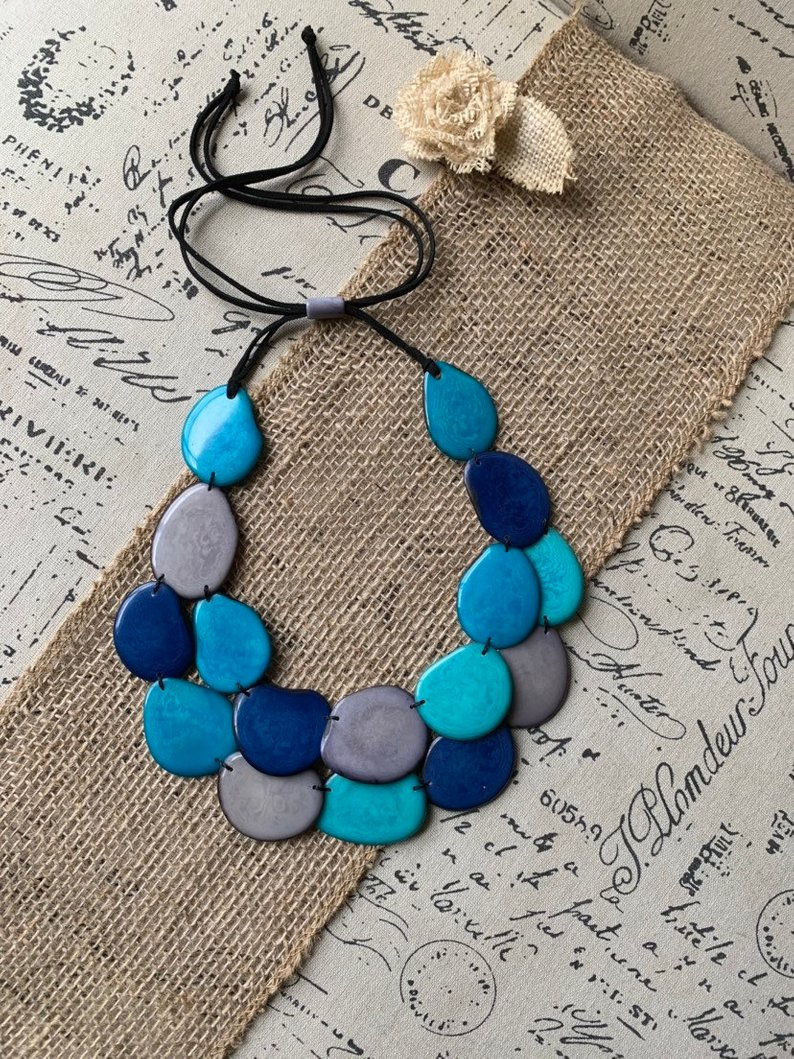 Blue and Gray Beaded Tagua Nut Necklace