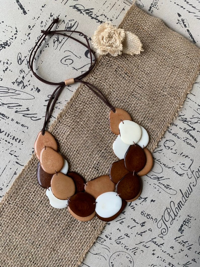 Brown and Beige Triple Layer Tagua Necklace