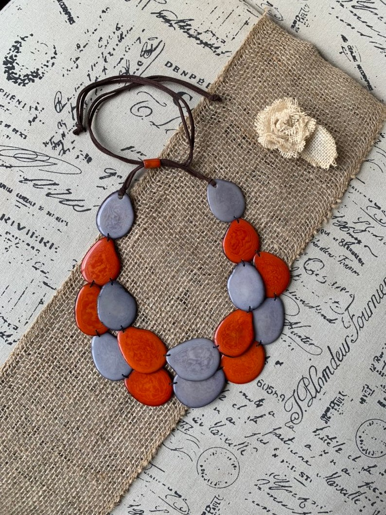 Orange and Gray Tagua Nut Necklace