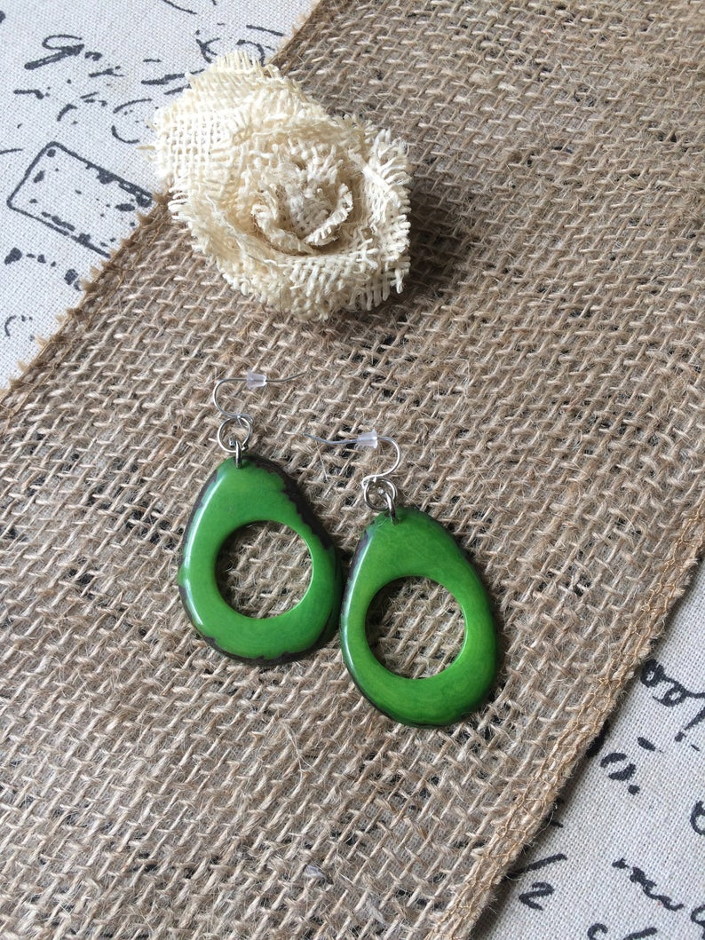 Green Handmade Tagua Earrings