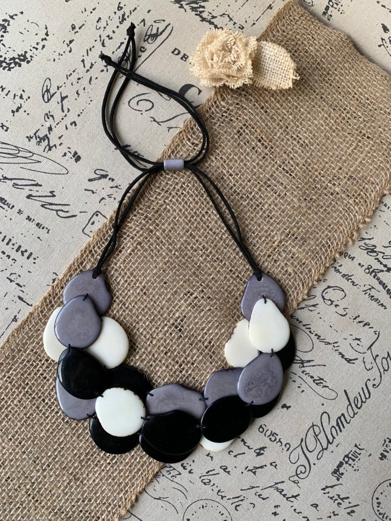 Black Gray and White Layered Tagua Necklace