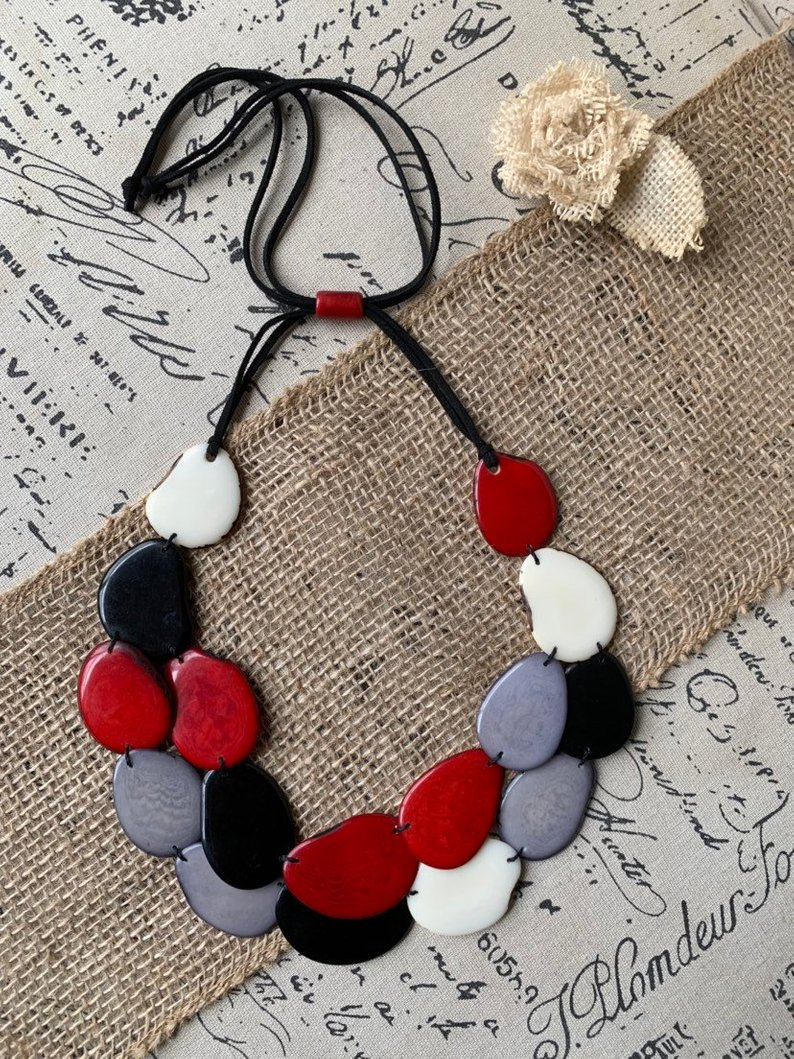 Multi Color Statement Tagua Necklace