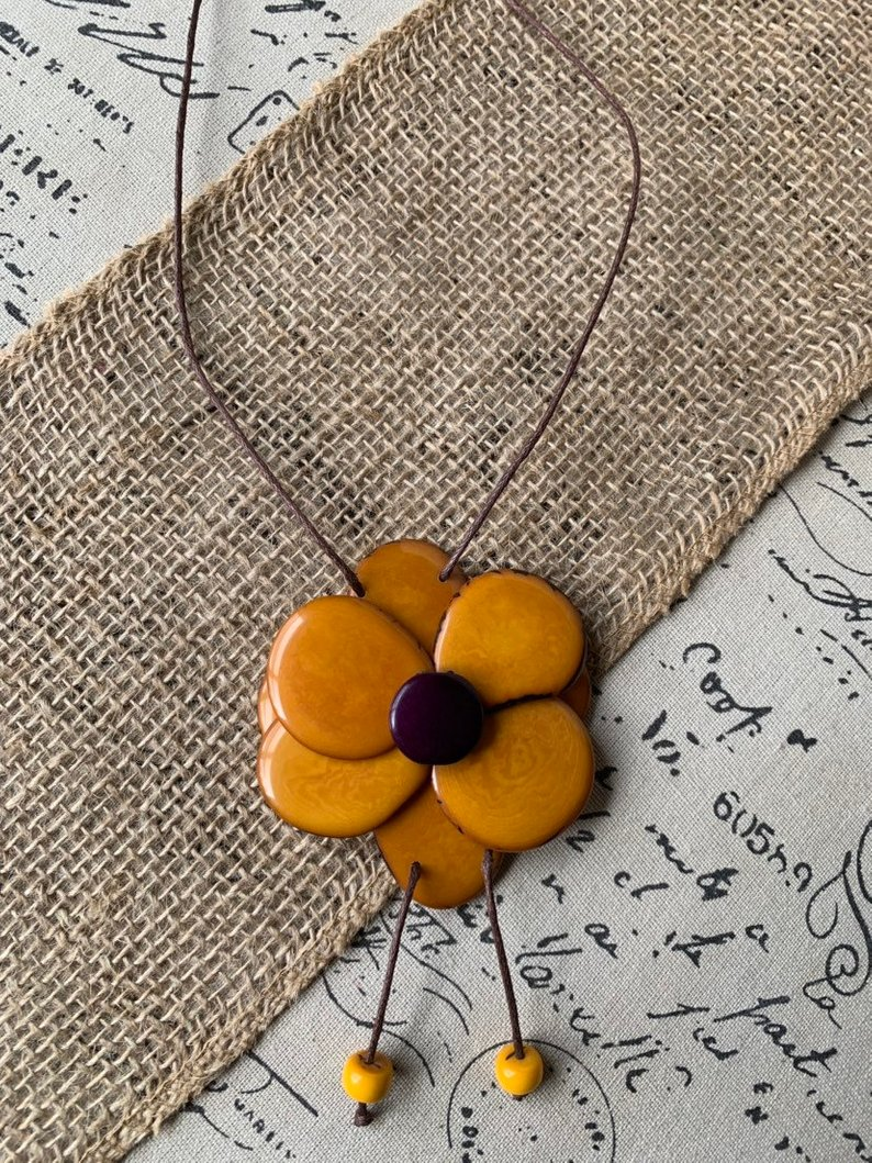 Mustard Yellow Flower Pendant Necklace