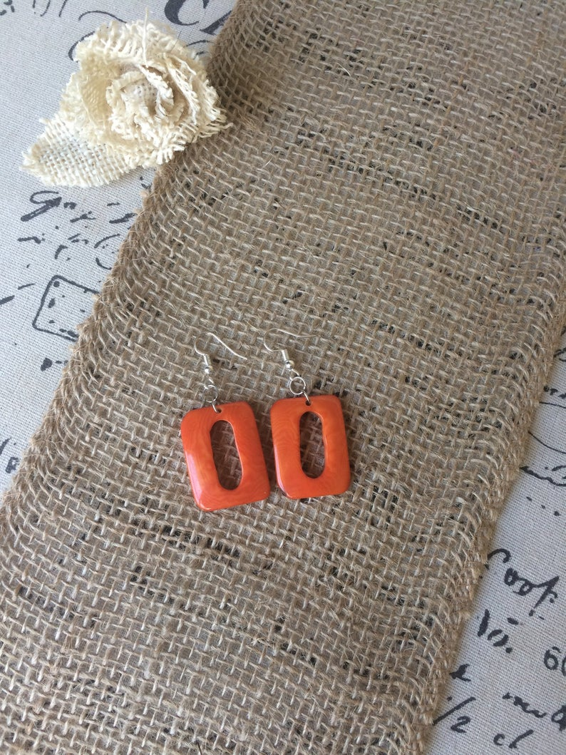 Orange Geometric Tagua Nut Earrings