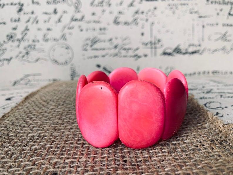 Pink Handmade Tagua Nut Bracelet