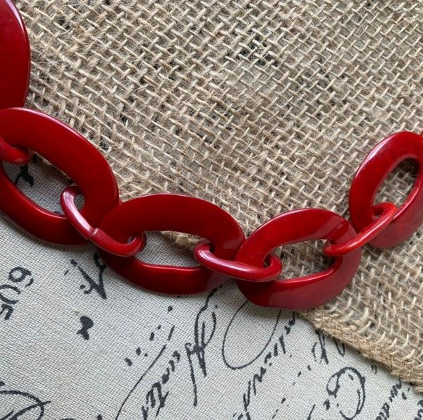 Red Chain Link Tagua Necklace