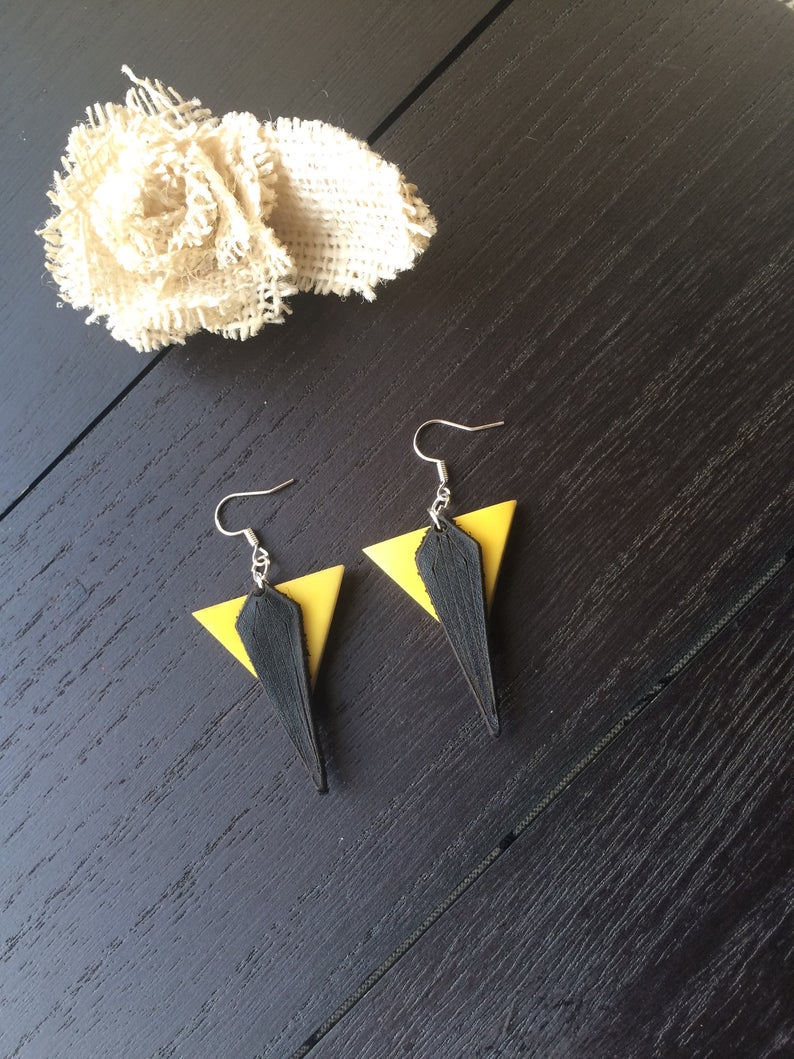 Yellow Tagua Earrings with Leather Accents