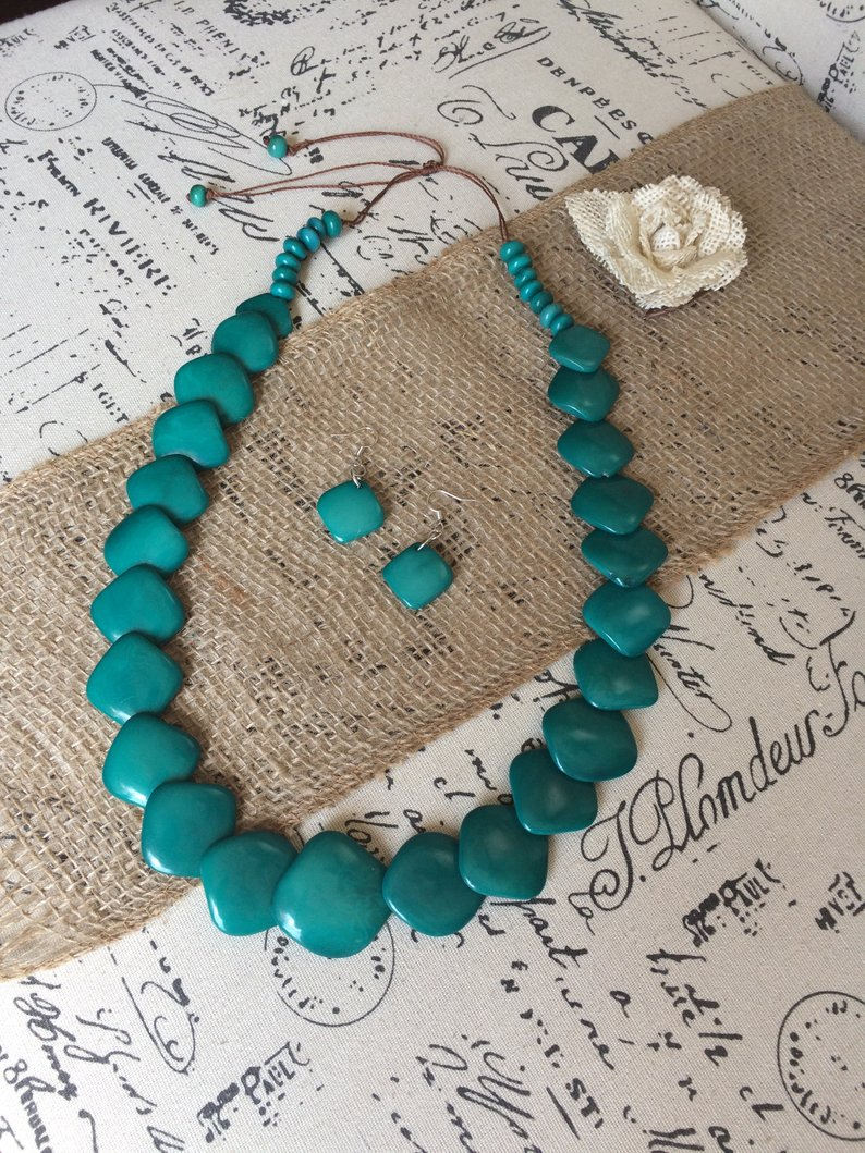 Teal Statement Tagua Necklace and Earrings Set