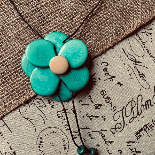 Turquoise Tagua Nut Flower Pendant