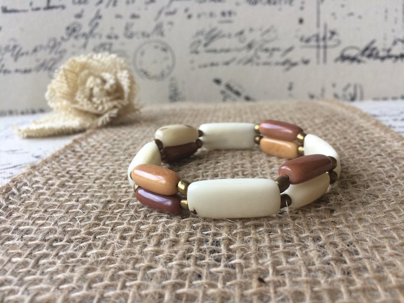 Brown and White Beaded Tagua Bracelet