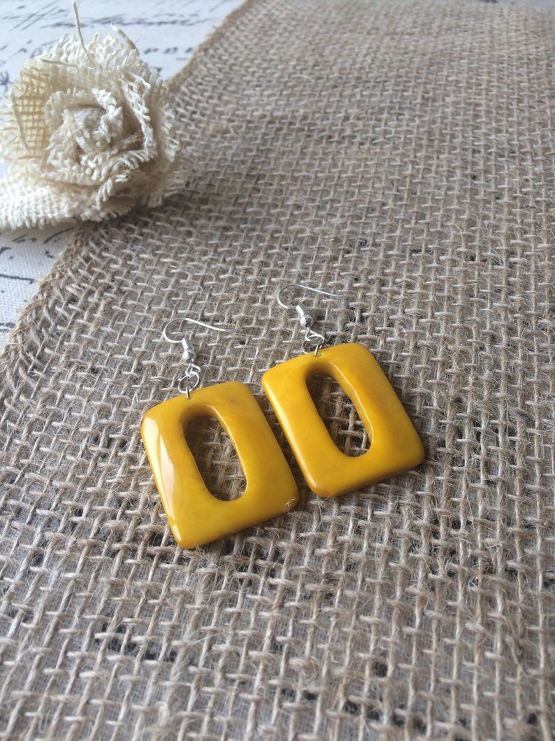 Yellow Geometric Tagua Nut Earrings