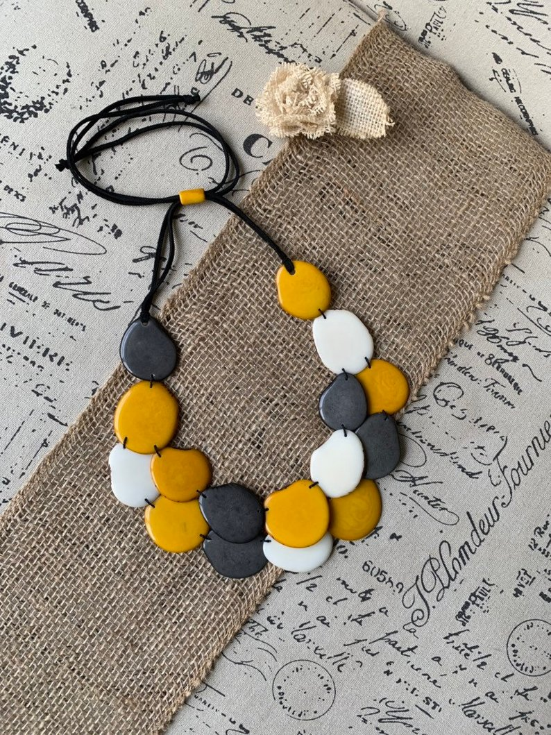 Yellow White and Gray Statement Tagua Necklace
