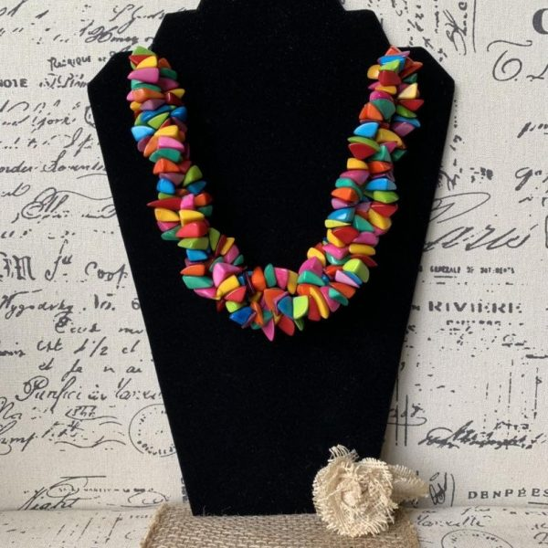 rainbow big tagua necklace