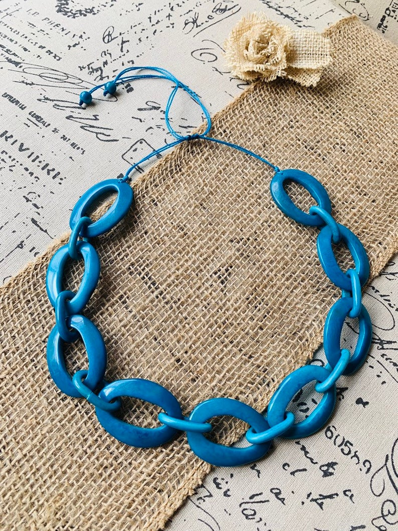 turquoise geometric chain necklace