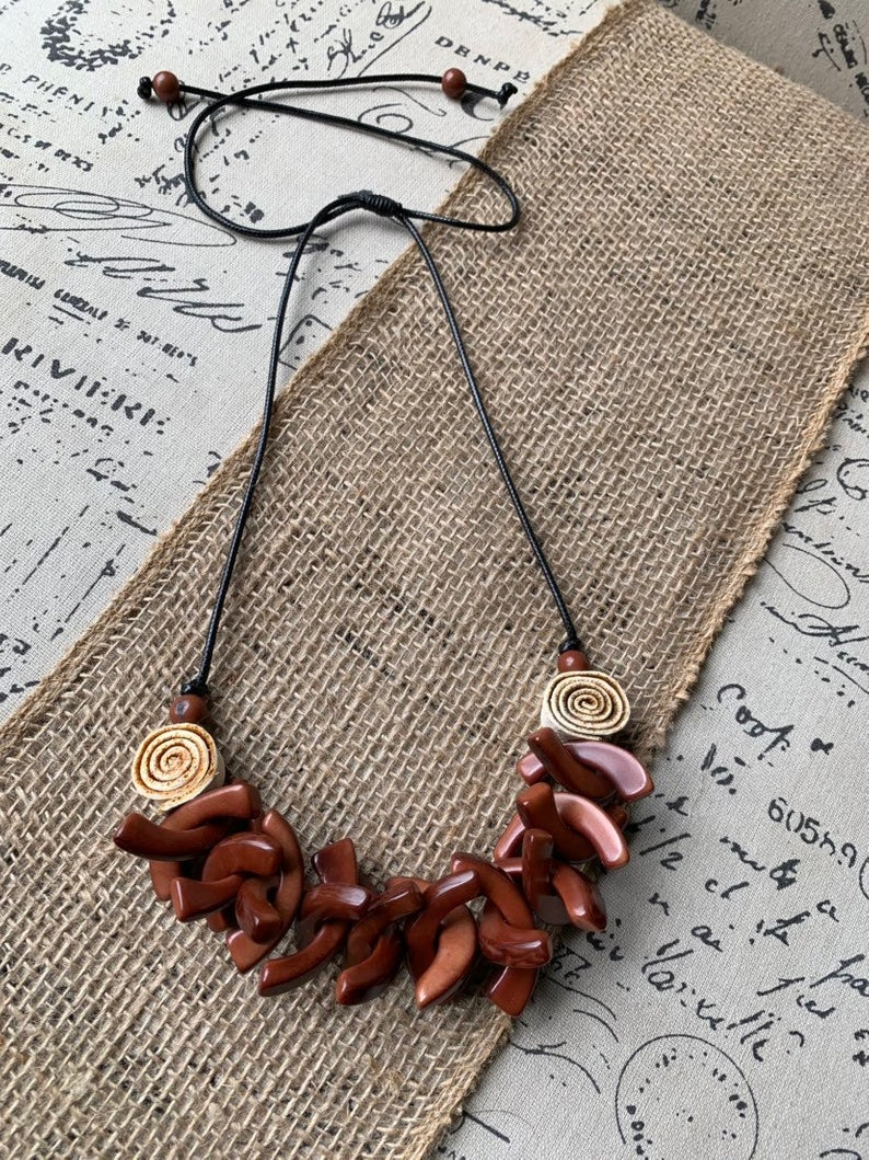 Brown Spiked Tagua Necklace with Orange Peel Roses