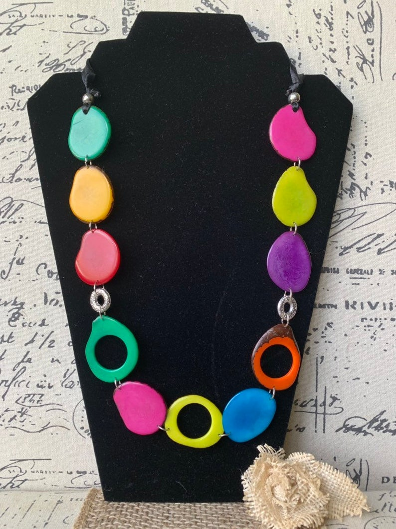 Extra Long Rainbow Tagua Nut Necklace